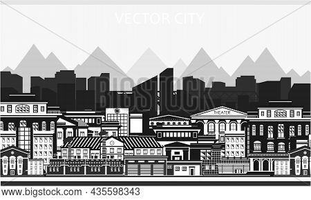 Vector Poster With City View In Black And White Colors. Modern City. City Buildings.