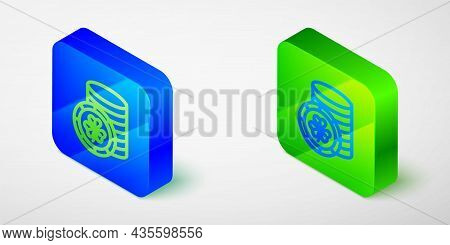 Isometric Line Golden Leprechaun Coin With Clover Trefoil Leaf Icon Isolated On Grey Background. Hap