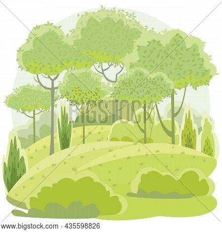Amusing Beautiful Forest Landscape. Green. Cartoon Style. Grass Hills. Rural Natural Look. Cool Roma