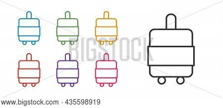 Set Line Suitcase For Travel Icon Isolated On White Background. Traveling Baggage Sign. Travel Lugga