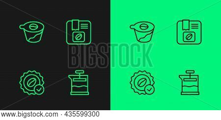 Set Line French Press, Medal For Coffee, Pour Over Maker And Bag Beans Icon. Vector