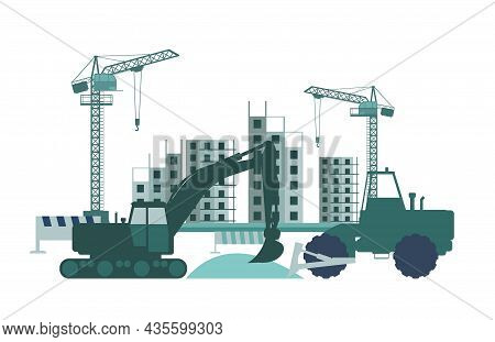 Construction Of A New Building. Silhouette. Cranes And Tractors. Modern Technologies And Equipment.