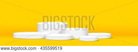 Cylinder Podium For Make-up Product Display, Yellow Background, Cylinder Podium Stand, Podium Stage