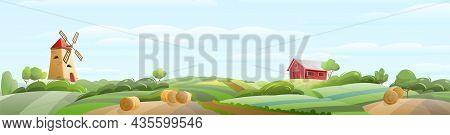 Summer Farm Landscape. Garden And Rolling Hills. Rural Scenery. Fields, Windmill And Barn. Cute Funn