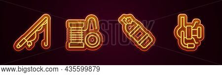 Set Line Fishing Rod, Spinning Reel For Fishing, Aqualung And . Glowing Neon Icon. Vector