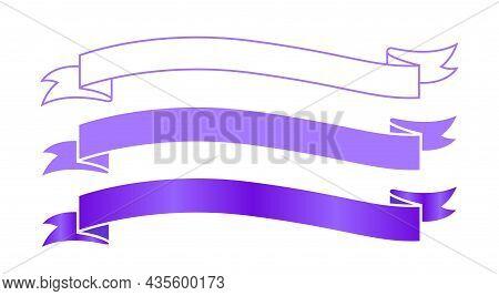 Ribbon Label Purple For Decoration Banner, Ribbon Sticker Frame For Tag Label Decorative, Ribbon Bad