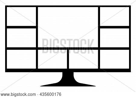 Computer Screen With Collage Grid Template Gadget, Computer Screen For Layout Web Application, Smart