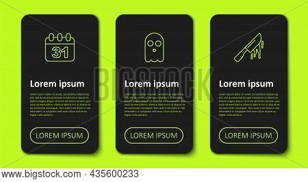 Set Line Halloween Date 31 October, Ghost And Bloody Knife. Business Infographic Template. Vector