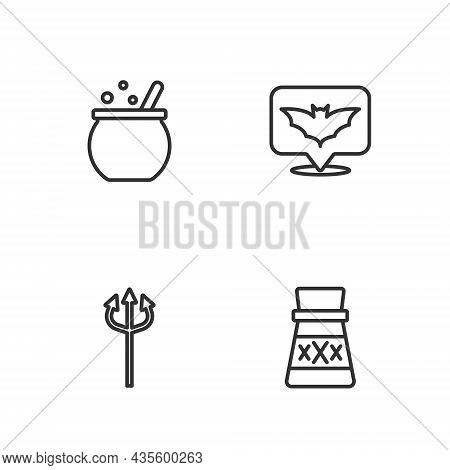Set Line Bottle With Potion, Trident Devil, Halloween Witch Cauldron And Flying Bat Icon. Vector
