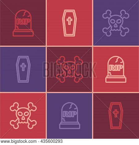 Set Line Tombstone With Rip Written, Skull Crossbones And Coffin Christian Icon. Vector