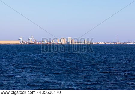 Industrial Site Of Swedish Coast . View Of Helsingborg From The  Oresund Strait