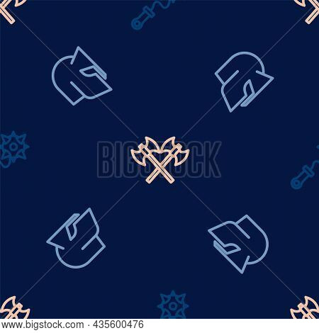 Set Line Mace With Spikes, Medieval Helmet And Crossed Medieval Axes On Seamless Pattern. Vector