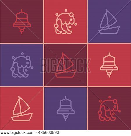 Set Line Ship Bell, Yacht Sailboat And Tsunami Icon. Vector