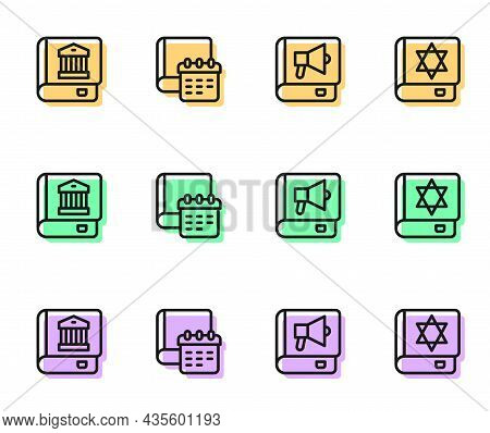 Set Line Book, Law Book, Daily Paper Notepad And Jewish Torah Icon. Vector
