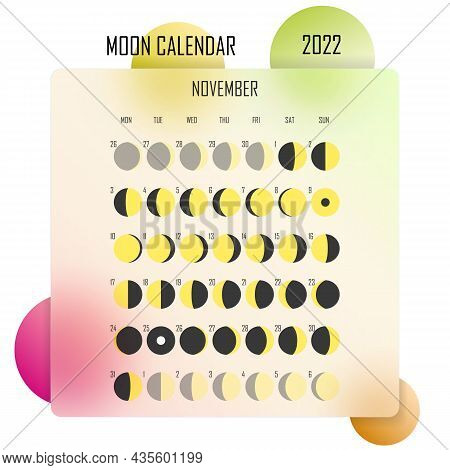 November 2022 Moon Calendar. Astrological Calendar Design. Planner. Place For Stickers. Month Cycle