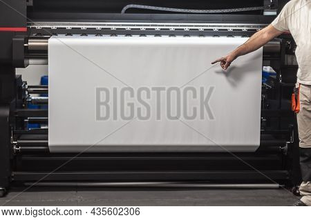 Technician Worker Operator Show And Point Blank Empty Space Of White Paper On Large Premium Industri