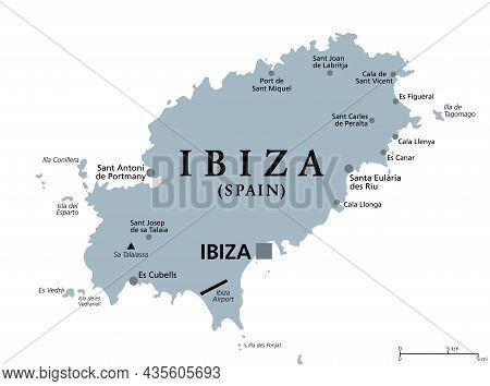 Ibiza, Gray Political Map. Part Of Balearic Islands, An Archipelago And Autonomous Community Of Spai