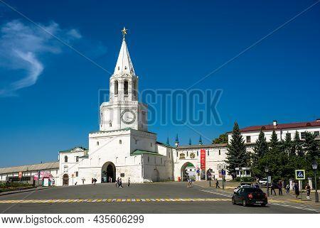 Kazan, Russia - June 16, 2021: Kazan Kremlin In Summer, Tatarstan, Russia. It Is Top Landmark Of Kaz