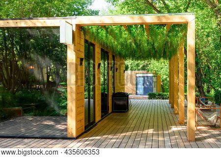 Canopy Overgrown With Green Plants, Nice Landscaping Of Cafe Exterior In Park. Modern Landscape Desi