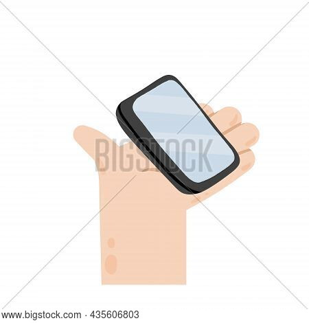 Hand Holding And Giving Phone. Modern Communication And Device. Mobile Smartphone. Modern Trendy Fla