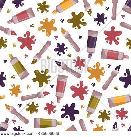 Colorful Seamless Pattern For Kids Design. Tube Of Paint, Blots And Brushes