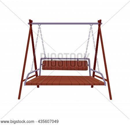 Garden Swing Bench. Classic Outdoor Garden Wooden Hanging Furniture. Wooden Porch Swing Hanging On F
