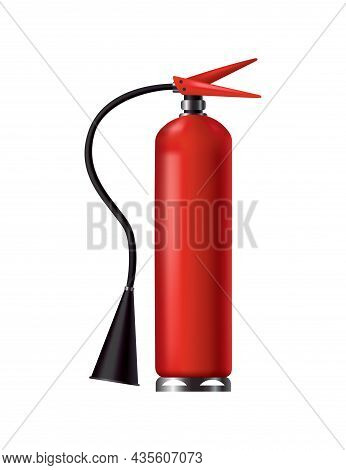 Red Fire Extinguisher. Isolated Portable Fire-fighting Unit With Hose. Firefighter Tool For Flame Fi