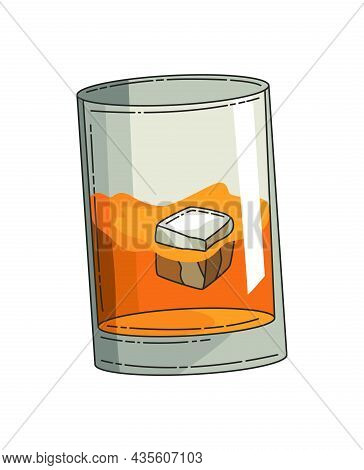 Glass Of Whiskey With Ice. Realistic Vector Glass With Smokey Scotch Whiskey Isolated On White Backg