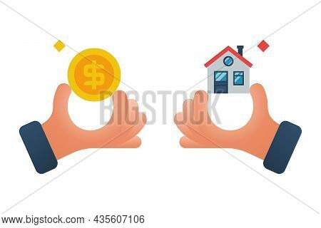 Buying House. Agent Of Real Estate Holding In Hand House, Key. Buyer, Customer Gives Money. Deal Sal
