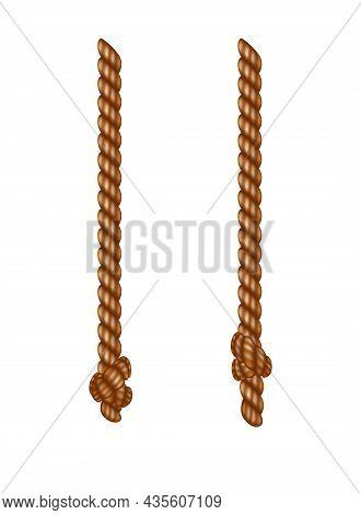 Isolated Hanging Ropes With Tassels. Realistic Knotted Nautical Thread. Nautical Or Marine Vertical