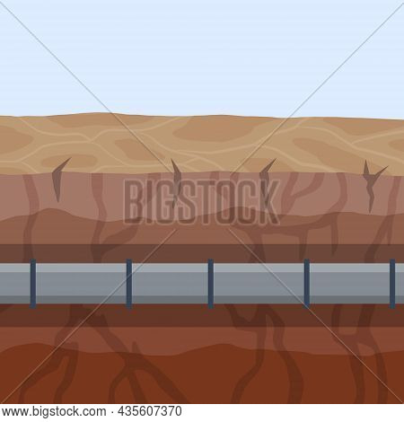 Underground Pipeline. Sewage System. An Oil Pipeline In The Ground. Sewer And Water Supply Pipe. Nat