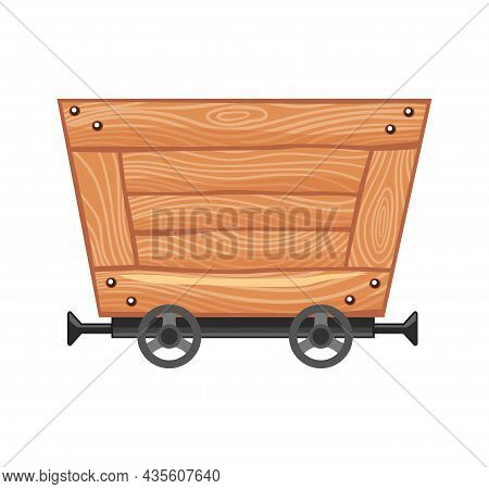 Wooden Empty Mine Cart. Cartoon Mine Trolley. Vector Design Illustration Isolated On White Backgroun