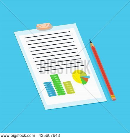 Notary Service Advertisement. Legal Paper Document Or Isolated On Blue Background. Color Vector Illu