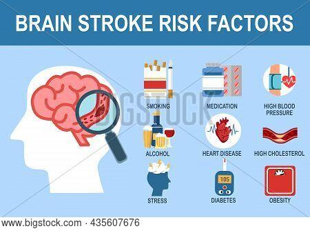 Brain Stroke Risk Factors Infographic In Flat Design.