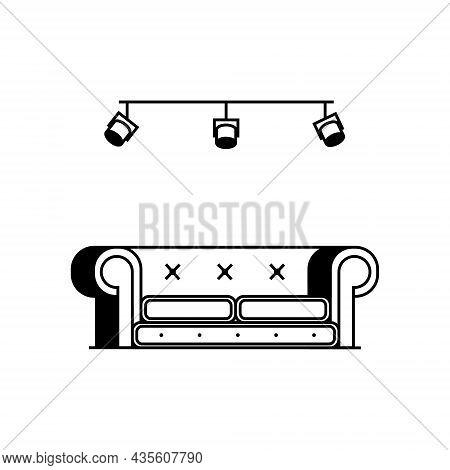 Loft Style Sofa With Cushions And Large Round Armrests. Minimalistic Painted Upholstered Furniture I