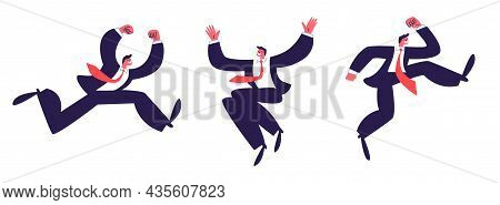 Happy Jumping Man Isolated. A Set Of Office Men In Suits Wearing A Red Tie Happily Bouncing And Wavi