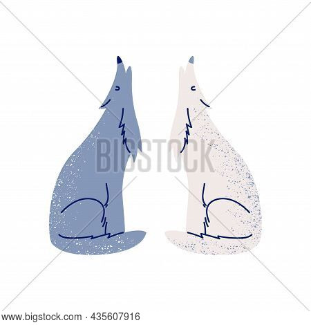 Two Wolves Howl Side By Side. Cartoon Gray And White Wolves Sitting Together With Their Heads Up. Ve