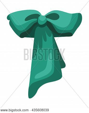 Gift Bow Colorful Flat Vector Illustration. Turquoise Knot For Present Element Template. Decoration