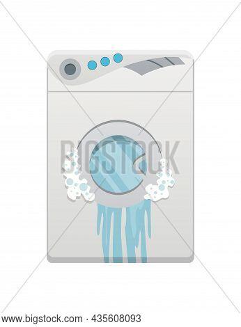 Broken Home Appliances. Damaged Washing Machine. Domestic Icons Isolated On White. Burning Electroni