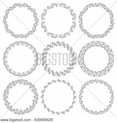 Vector Set Of Round Elegant Frames In Art Deco Style. Collection Of Circles With Curls Isolated On W