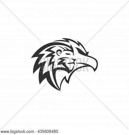 Lion Eagle Head Illustration Emblem Mascot Design Template