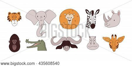 Heads Of African Animals. A Set Of African Animals In Pastel Colors With Thin Strokes. Vector Stock