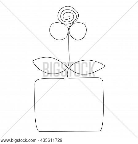 Flower And Leaves In The Pot Line Art. Simple Icon Drawing. Minimalist Contour Drawing. One Line Art