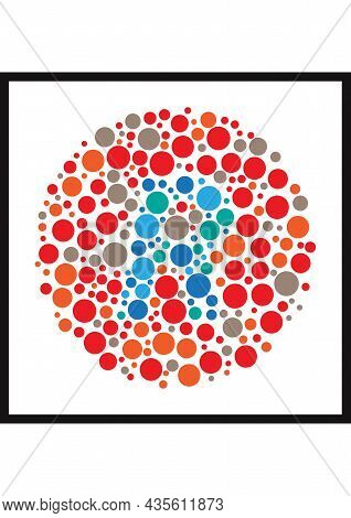 Vector Graphic Of Ishihara Color Test Or Color Blind Test Design. The Letter R Cunningly Hid Inside