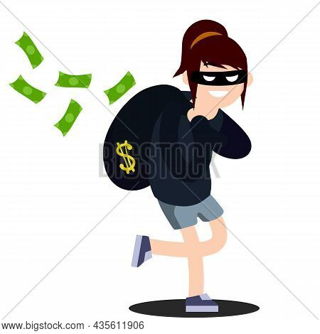 Thief With Bag Of Money. Problem Of Urban Economic Security. Cartoon Flat Illustration. Bank Robbery