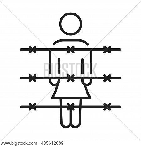 Monochrome Woman Prisoner At Barbed Wire Line Icon Vector Illustration Criminal Offender Behind Bars