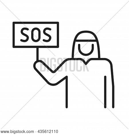 Arabic Man With Table Request For Help Line Icon Vector Illustration Asking Aid Sign Sos Word Board