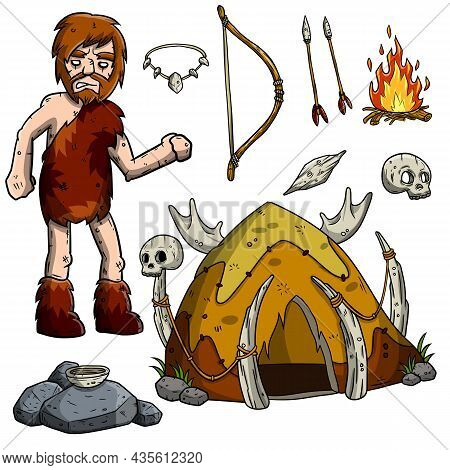 Primitive Caveman. Prehistoric Hunter. Stone Age. Set Of Cartoon Object