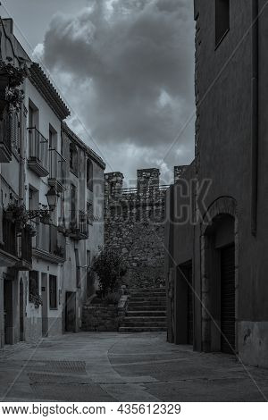 Black White Picture Of The Fortified Town Montblanc In Tarragona, Catalunya, Spain, Vertical