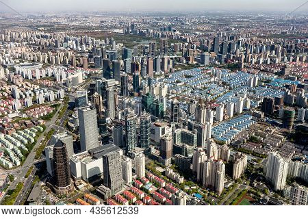 Shanghai, China - April 13, 2017: The Cityscape Of Shanghai, China With A Lot Of Skyscrapers Viewed